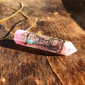 Handmade UV Resin Dictionary Hourglass Necklace